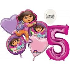 Dora the Explorer Party Supplies 5th Birthday Balloon Bouquet