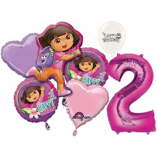 Dora the Explorer Party Supplies 2nd Birthday Balloon Bouquet