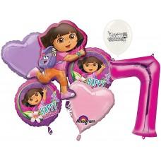 Dora the Explorer Party Supplies 7th Birthday Balloon Bouquet