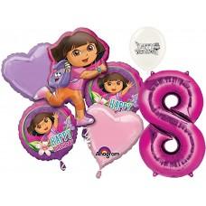 Dora the Explorer Party Supplies 8th Birthday Balloon Bouquet