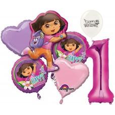 Dora the Explorer Party Supplies 1st Birthday Balloon Bouquet