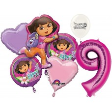 Dora the Explorer Party Supplies 9th Birthday Balloon Bouquet