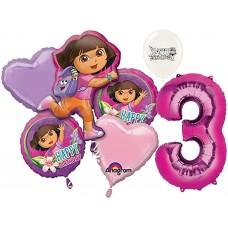Dora the Explorer Party Supplies 3rd Birthday Balloon Bouquet