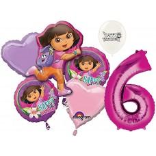 Dora the Explorer Party Supplies 6th Birthday Balloon Bouquet