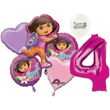 Dora the Explorer Party Supplies 4th Birthday Balloon Bouquet