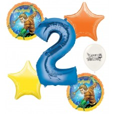 Aquaman 2nd Happy Birthday Number Two Megaloon Ocean Sea Adventure Boys and Girls Balloon Bundle Party Supplies and Decorations