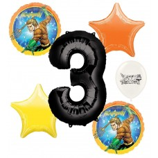Aquaman 3rd Happy Birthday Number Three Megaloon Ocean Sea Adventure Boys and Girls Balloon Bundle Party Supplies and Decorations