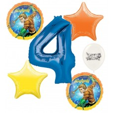 Aquaman 4th Happy Birthday Number Four Megaloon Ocean Sea Adventure Boys and Girls Balloon Bundle Party Supplies and Decorations