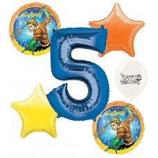 Aquaman 5th Happy Birthday Number Five Megaloon Ocean Sea Adventure Boys and Girls Balloon Bundle Party Supplies and Decorations