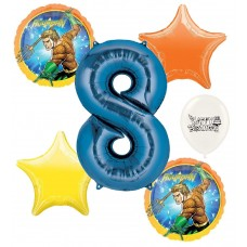 Aquaman 8th Happy Birthday Number 8 Megaloon Ocean Sea Adventure Boys and Girls Balloon Bundle Party Supplies and Decorations