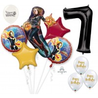 Avengers Captain Marvel Ultimate Avengers 7th Birthday Party Event Bouquet of Balloons Decorations Eightieth By the Numbers