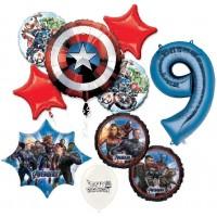 Avengers Captain America 9th Happy Birthday Bundle Balloon Bouquet Bundle Set Kit Bouquet Kids Boys Girls Decoration Party Supplies