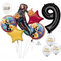 Avengers Captain Marvel Ultimate Avengers 9th Birthday Party Event Bouquet of Balloons Decorations Ninth 9 By the Numbers