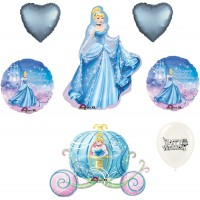Cinderella Princess Disney Supershape  with Carriage Balloon  Themed Happy Birthday Party Decoration Idea Girls Latex Bouquet Bundle
