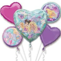 Barbie Mermaid Five Piece Balloon Bouquet All Occassion Party Set Bundle for Girls