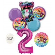 Beanie Boos 2nd Happy Birthday By the Numbers Party Balloons Bouquet Bundle for Boys and Girls Party Decorations