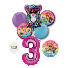Beanie Boos 3rd Happy Birthday By the Numbers Party Balloons Bouquet Bundle for Boys and Girls Party Decorations