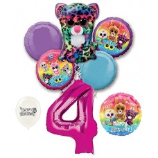 Beanie Boos 4th Happy Birthday By the Numbers Party Balloons Bouquet Bundle for Boys and Girls Party Decorations