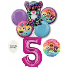 Beanie Boos 5th Happy Birthday By the Numbers Party Balloons Bouquet Bundle for Boys and Girls Party Decorations