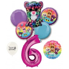 Beanie Boos 6th Happy Birthday By the Numbers Party Balloons Bouquet Bundle for Boys and Girls Party Decorations