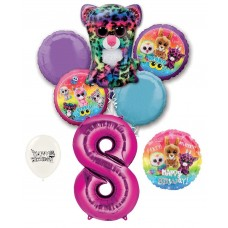 Beanie Boos 8th Happy Birthday By the Numbers Party Balloons Bouquet Bundle for Boys and Girls Party Decorations