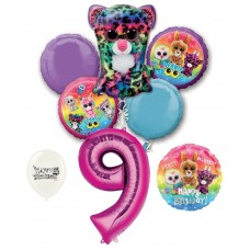 Beanie Boos 9th Happy Birthday By the Numbers Party Balloons Bouquet Bundle for Boys and Girls Party Decorations
