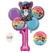 Beanie Boos 1st Happy Birthday By the Numbers Party Balloons Bouquet Bundle for Boys and Girls Party Decorations