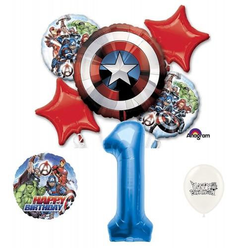 Avengers Captain America 1st Happy Birthday Bundle Balloon Bouquet Bundle Set Kit Bouquet Kids Boys Girls Decoration Party Supplies