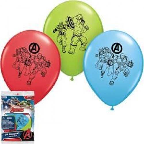 Marvel Avengers Count of 6 Hulk, Ironman, Captain America 11 inch Latex Balloons Assorted Colors