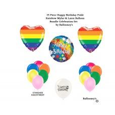 Pride Rainbow Happy Birthday Pride Celebration LBGTQ Balloon Bundle Set