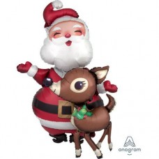 Santa and Reindeer Merry Christmas FestiveHoliday Airwalker Balloon 41 inch Huge Foil Decorations Party Supplies Kids Parties Anagram