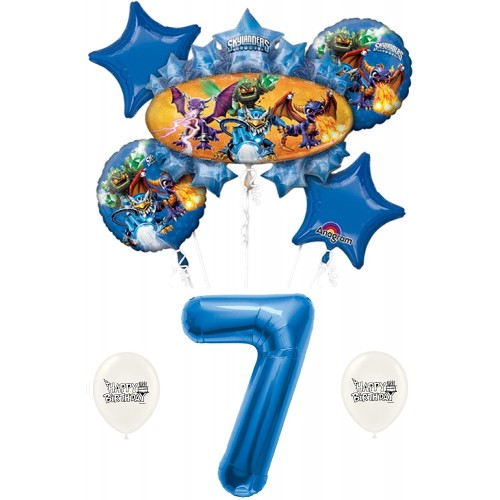 Skylanders Eruptor and Friends 7th Seventh Seven 7 Birthday Balloon Bundle Set Decor Decorations Parties Kids