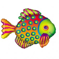 Tropical Multi Color Supershape Fish Mylar Balloon