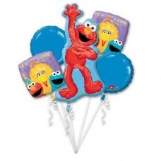 """Sesame Street """"1st Birthday"""" Five Piece Balloon Bouquet"""