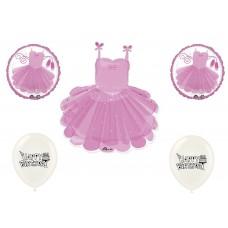 Ballerina Ballet Tutu Dancing Girly Girl 7 Piece Mylar Balloon, Birthday, All Occasion, Kit, Set