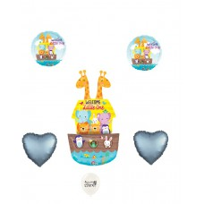 Welcome Little One Baby Ark with Blue Satin Hearts, Baby Showers Balloon Set by Ballooney's