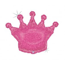 Pink Glittering Holographic Crown 36 Inch Jumbo Supershape XL Royal Princess King Queen Mylar Balloon