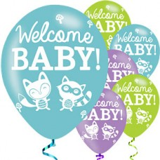 Woodland Fox Welcome Baby Count of 15 latex balloons, 12 inch, baby, decor, baby showers